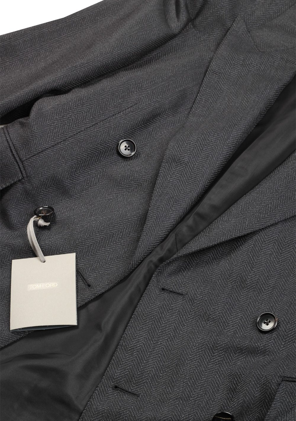 TOM FORD Shelton Gray Double Breasted Suit Size 48 / 38R U.S. In Mohair Wool | Costume Limité