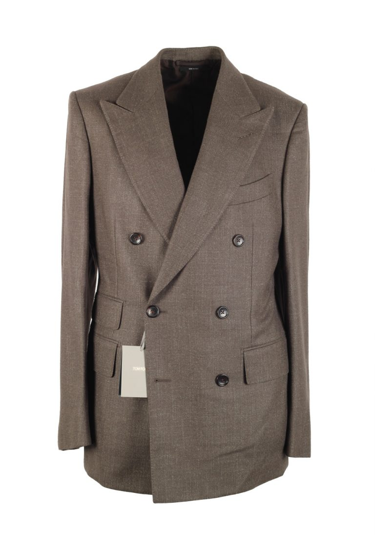 TOM FORD Shelton Brown Double Breasted Suit Size 48 / 38R U.S. In Wool - thumbnail | Costume Limité