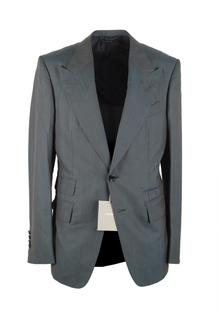 TOM FORD Shelton Turquoise Suit Size 48 / 38R U.S. In Wool Silk - thumbnail | Costume Limité