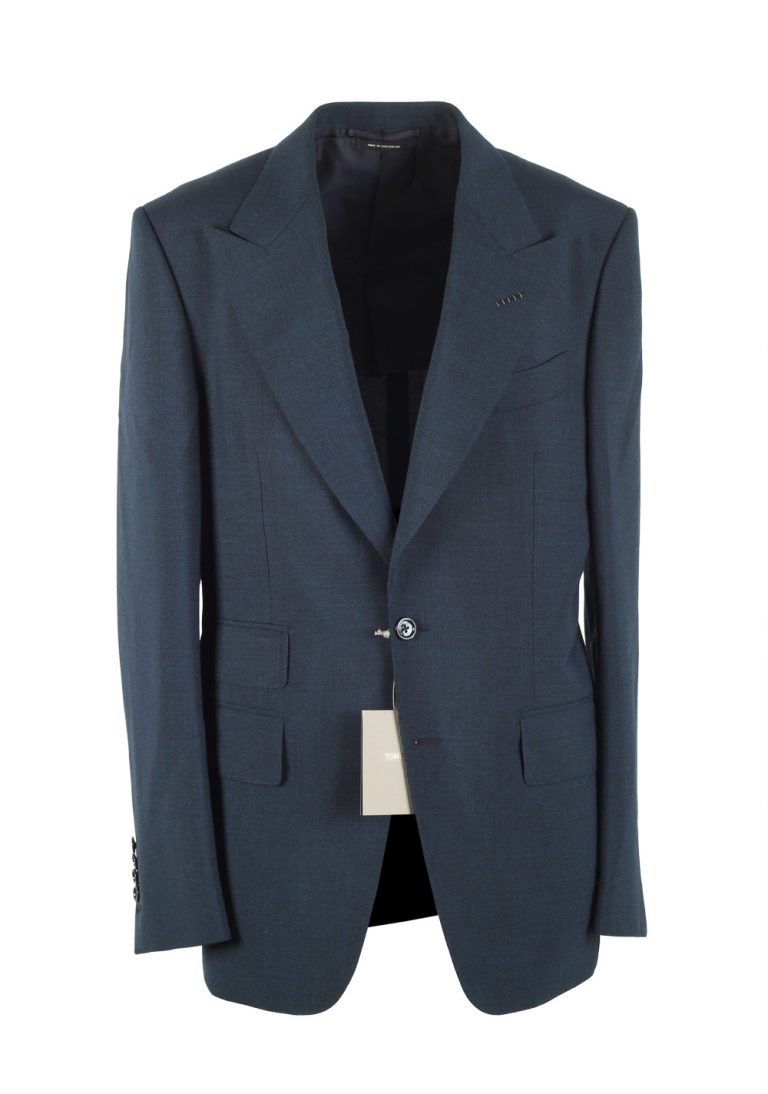 TOM FORD Shelton Blue Suit Size 48 / 38R U.S. In Mohair - thumbnail | Costume Limité