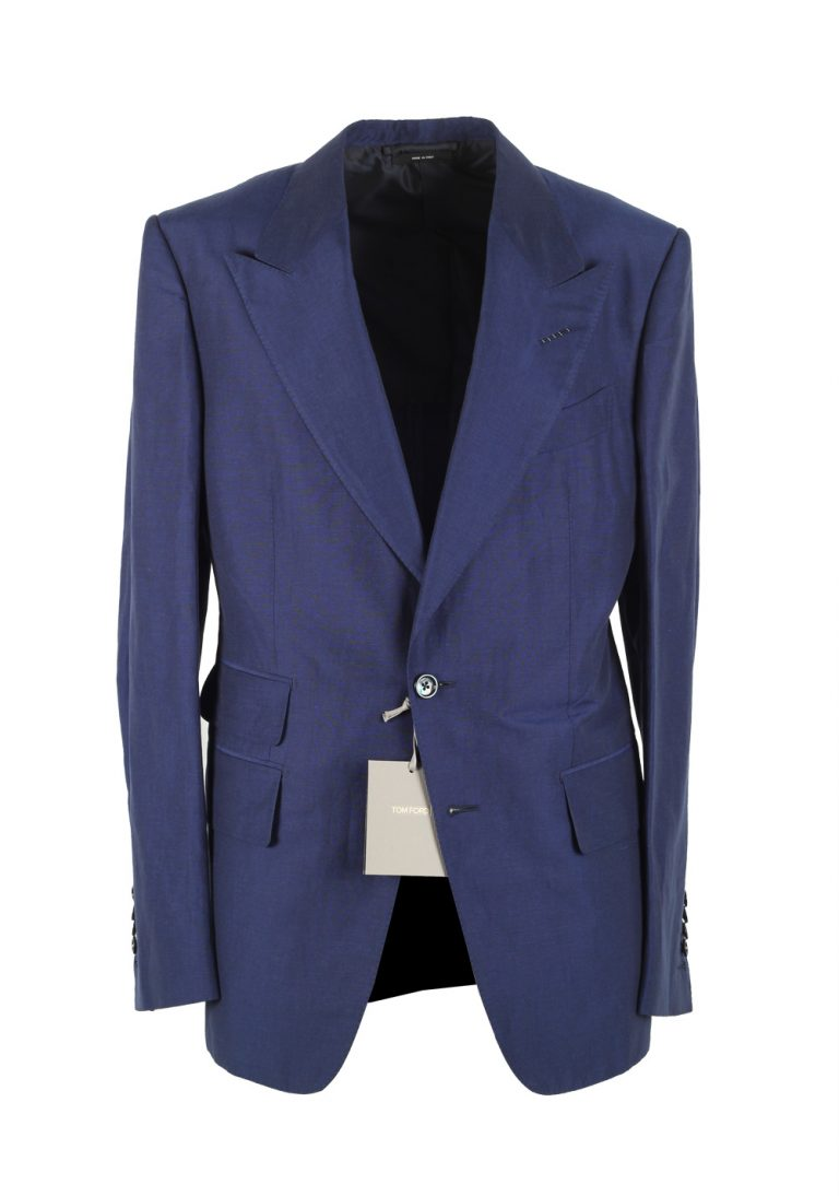 TOM FORD Shelton Blue Suit Size 48 / 38R U.S. In Linen Silk - thumbnail | Costume Limité