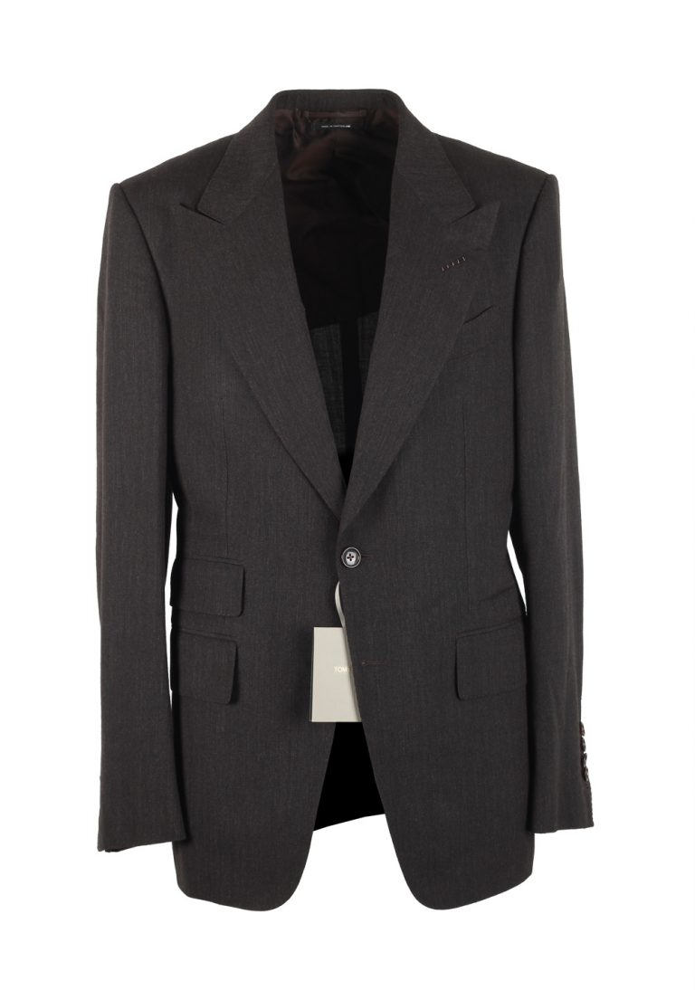 TOM FORD Shelton Brown Suit Size 48 / 38R U.S. In Mohair Wool Silk - thumbnail | Costume Limité