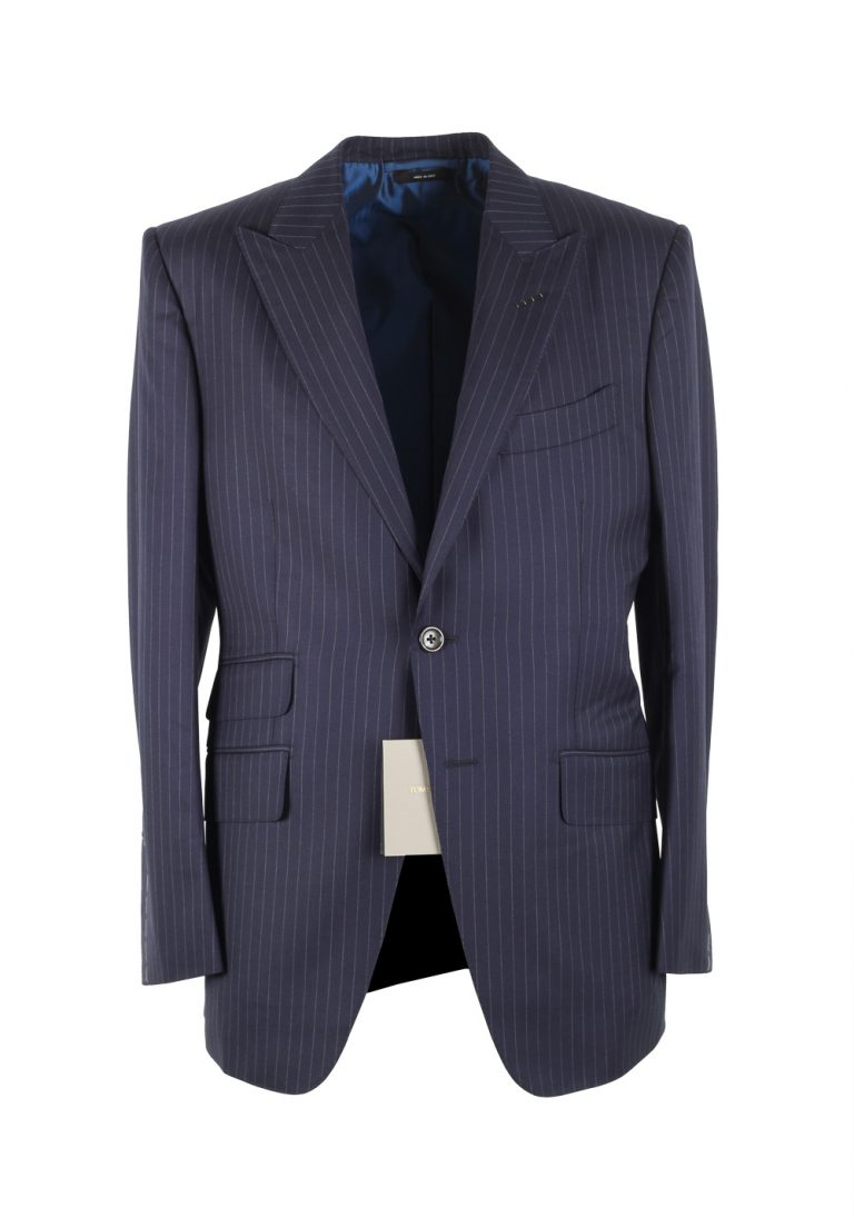 TOM FORD O'Connor Striped Blue Suit Size 48C / 38S U.S. Wool Silk Fit Y - thumbnail | Costume Limité