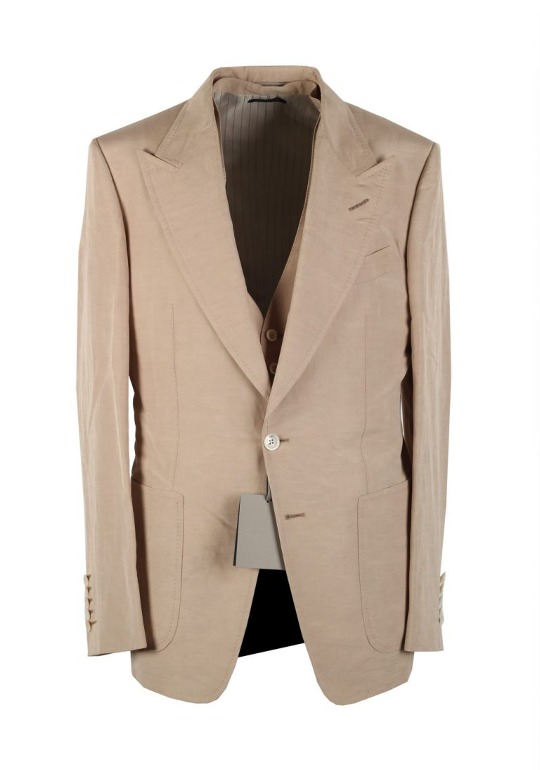 TOM FORD Shelton Beige 3 Piece Suit Size 48 / 38R U.S. In Linen Silk - thumbnail | Costume Limité