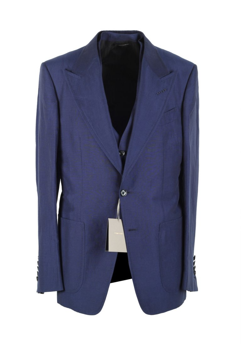 TOM FORD Shelton Blue 3 Piece Suit Size 48 / 38R U.S. In Linen Silk - thumbnail | Costume Limité