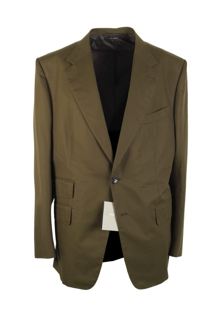TOM FORD Windsor Green Suit Size 56 / 46R U.S. Cotton Fit A - thumbnail | Costume Limité
