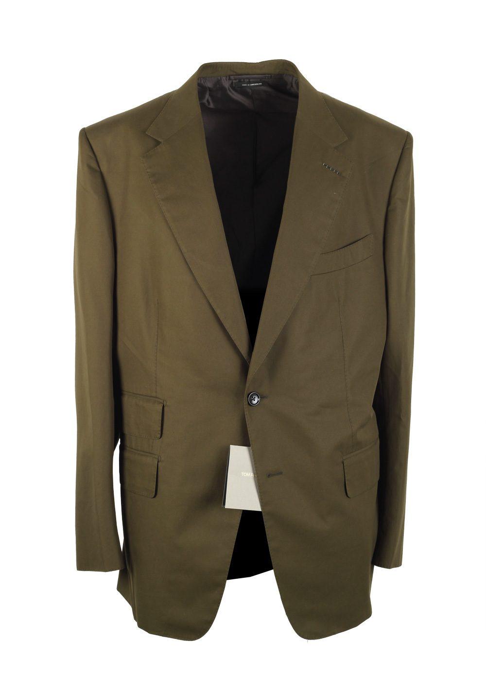 TOM FORD Windsor Green Suit Size 58 / 48R U.S. Cotton Fit A | Costume Limité