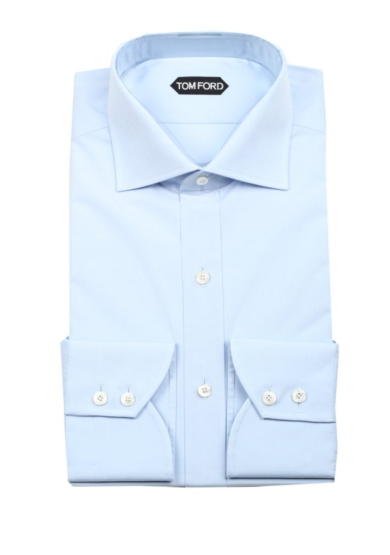 TOM FORD Solid Blue Dress Shirt Size 40 / 15,75 U.S. Slim Fit - thumbnail | Costume Limité