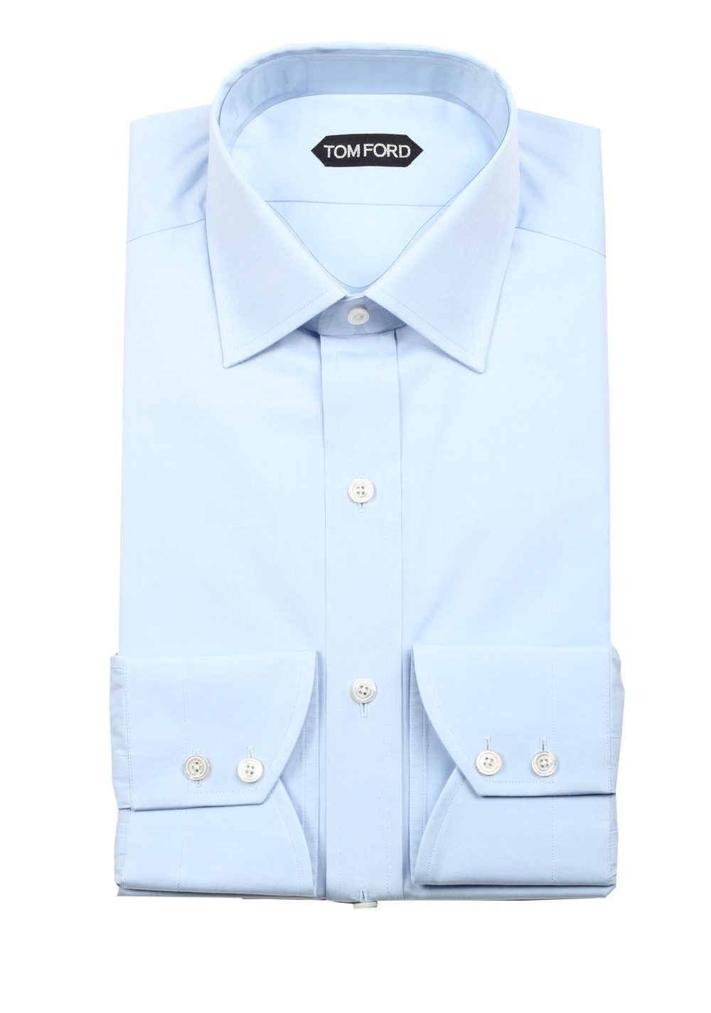 4f29ff4c35a4 TOM FORD Solid Blue Dress Shirt Size 40 / 15,75 U.S. Slim Fit   Costume  Limité