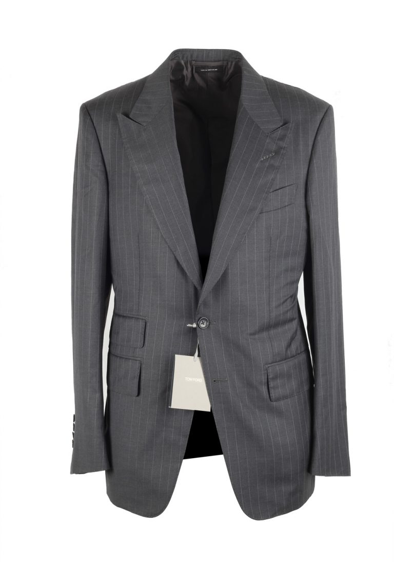 TOM FORD Shelton Striped Gray Suit Size 48 / 38R U.S. In Wool Silk - thumbnail | Costume Limité