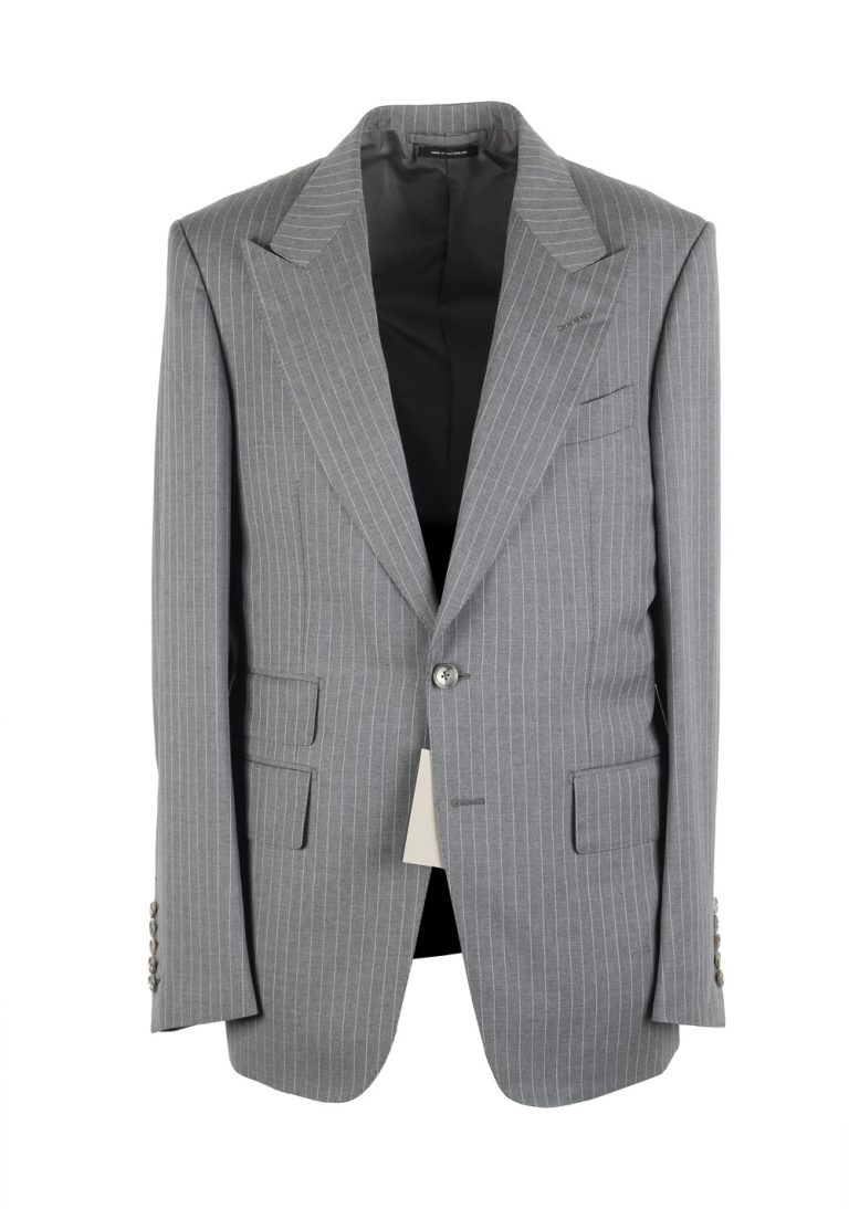 TOM FORD Shelton Striped Gray Suit Size 48 / 38R U.S. In Wool - thumbnail | Costume Limité
