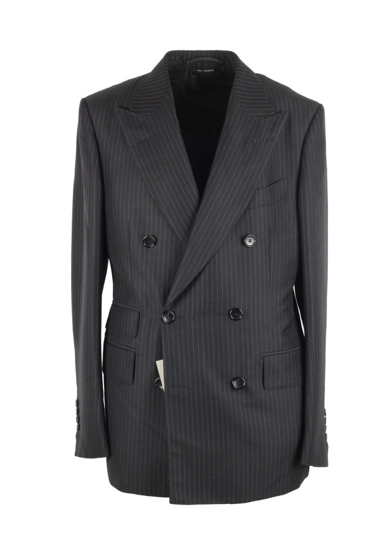 TOM FORD Shelton Gray Double Breasted Suit Size 48 / 38R U.S. In Mohair Linen - thumbnail | Costume Limité