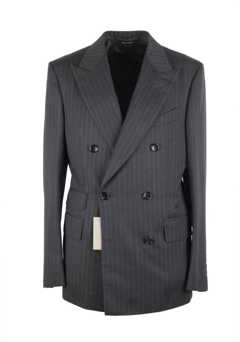 TOM FORD Shelton Gray Double Breasted Suit Size 48 / 38R U.S. In Wool - thumbnail | Costume Limité
