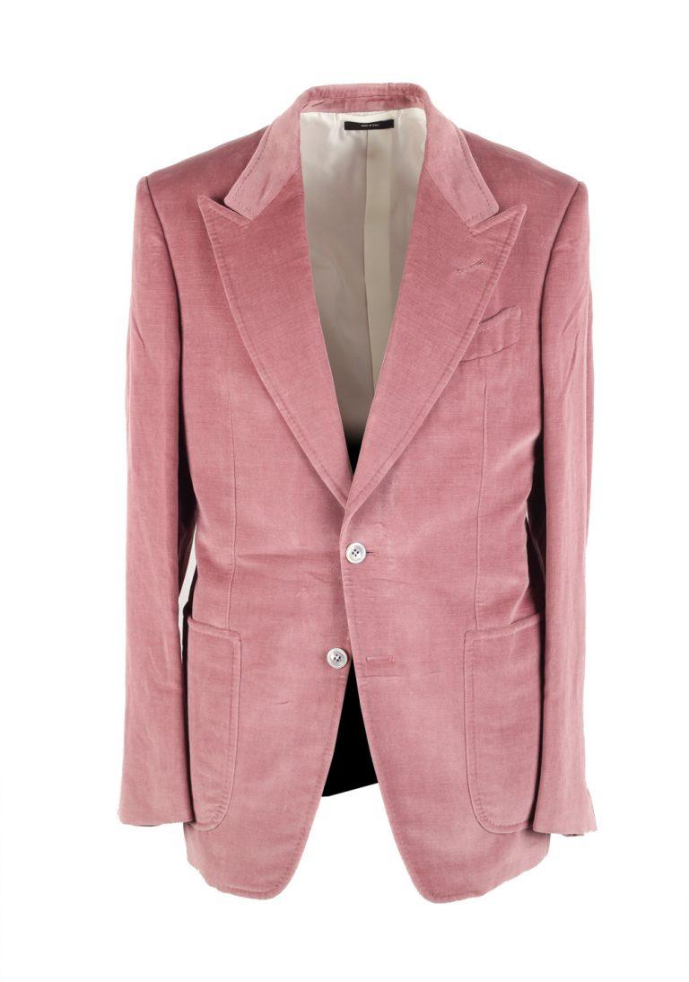 TOM FORD Shelton Pink Velvet Suit Size 48 / 38R U.S. In Cotton Linen - thumbnail   Costume Limité