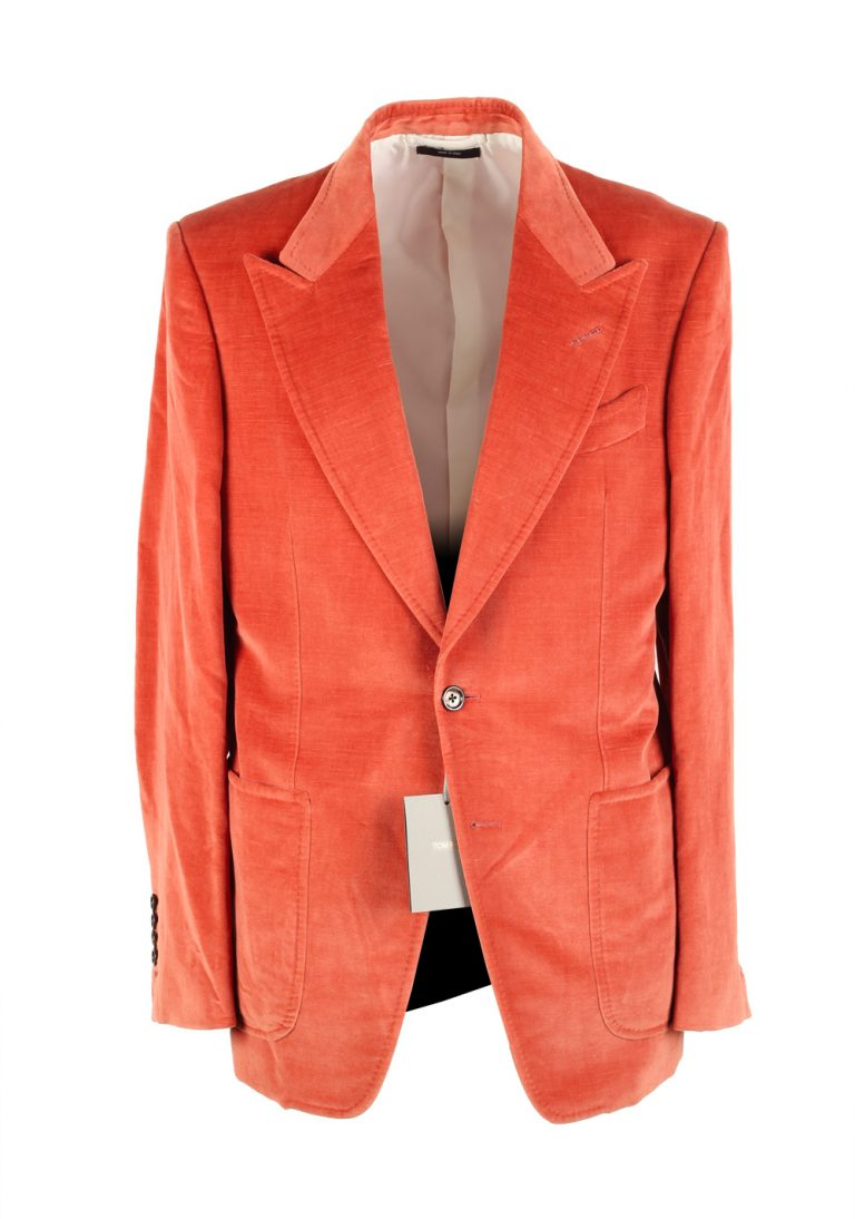 TOM FORD Shelton Orange Velvet Suit Size 48 / 38R U.S. In Cotton Linen - thumbnail | Costume Limité