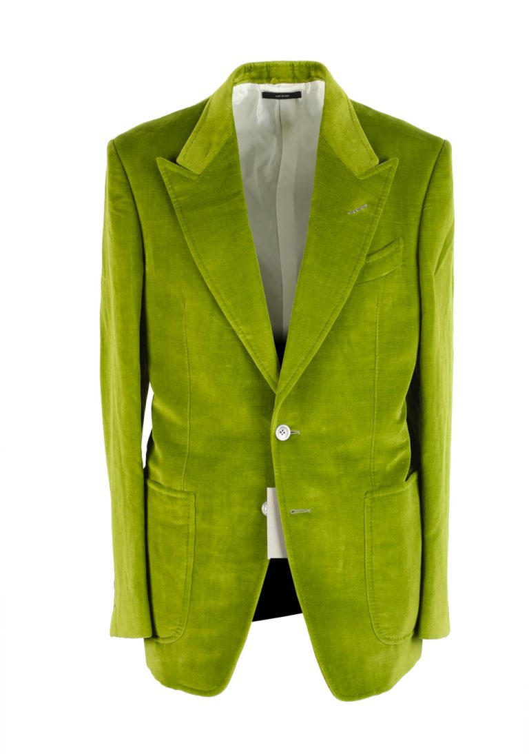 TOM FORD Shelton Green Velvet Suit Size 48 / 38R U.S. In Cotton Linen - thumbnail | Costume Limité