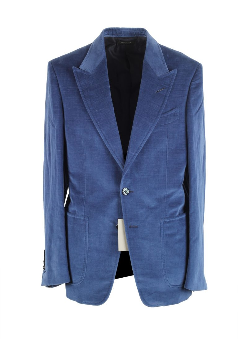 TOM FORD Shelton Blue Velvet Suit Size 48 / 38R U.S. In Cotton Linen - thumbnail | Costume Limité