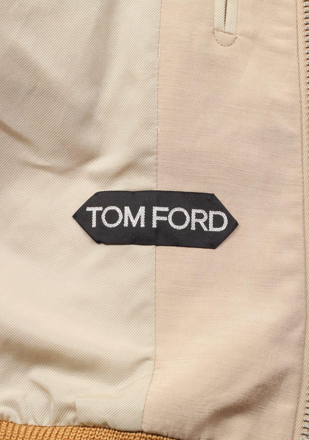 TOM FORD Beige Zipper Bomber Jack Size 48 / 38R U.S. | Costume Limité