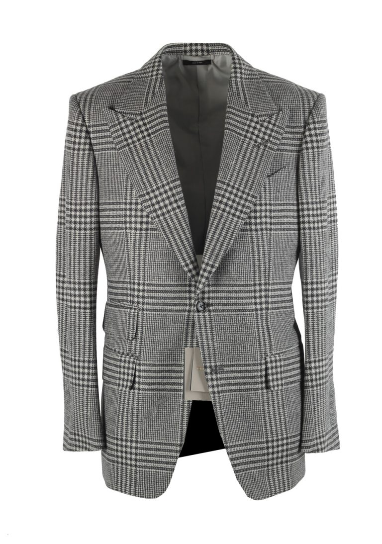 TOM FORD Windsor Checked Gray Suit Size 52 / 42R U.S. Wool Cashmere Fit A - thumbnail | Costume Limité