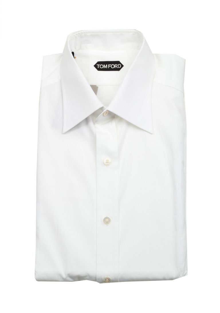 TOM FORD Solid White Dress Shirt Size 43 / 17 U.S. - thumbnail | Costume Limité