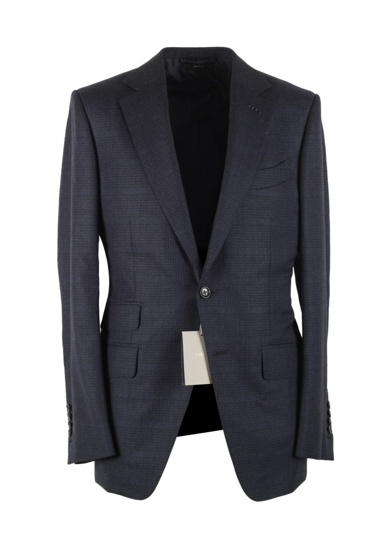 TOM FORD O'Connor Blue Checked Suit Size 46 / 36R U.S. Fit Y - thumbnail | Costume Limité