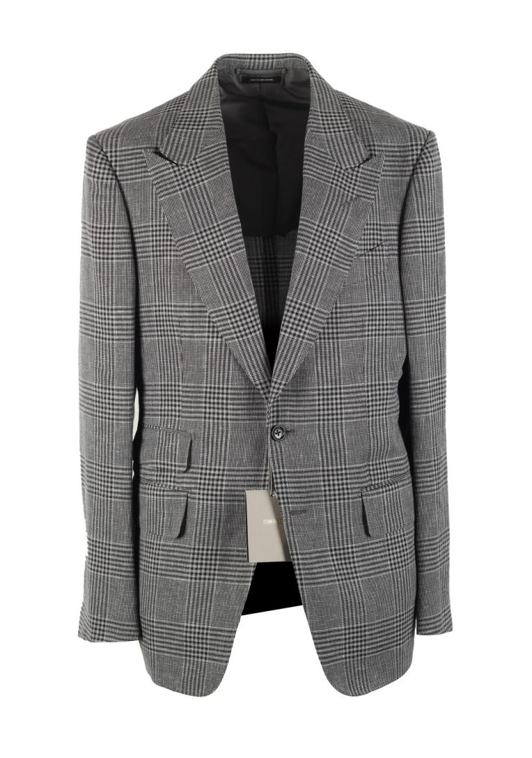 TOM FORD Shelton Checked Gray Suit Size 50 / 40R U.S. In Wool Linen Silk - thumbnail | Costume Limité