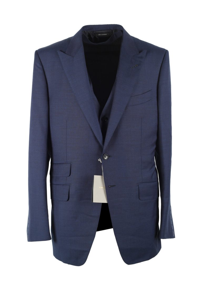 TOM FORD O'Connor Blue 3 Piece Suit Size 52 / 42R U.S. Wool Fit Y - thumbnail | Costume Limité