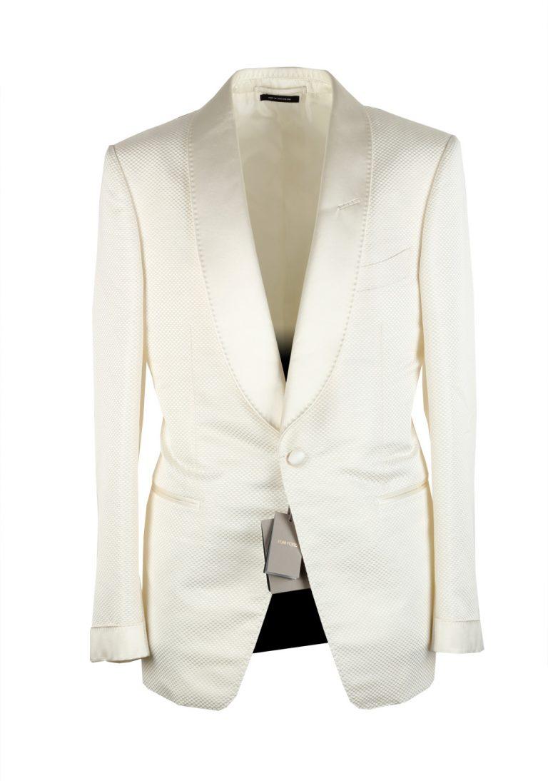 TOM FORD Shelton White Shawl Collar Sport Coat Tuxedo Dinner Jacket Size 48 / 38R U.S. - thumbnail | Costume Limité