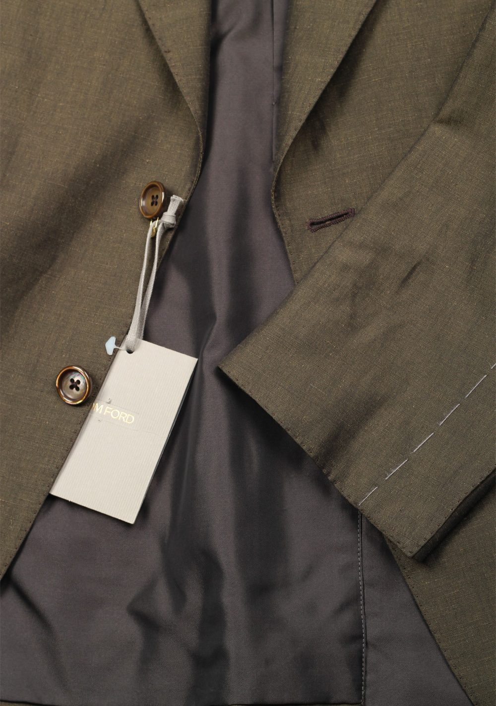 TOM FORD Shelton Green Suit Size 50 / 40R U.S. In Linen Silk | Costume Limité