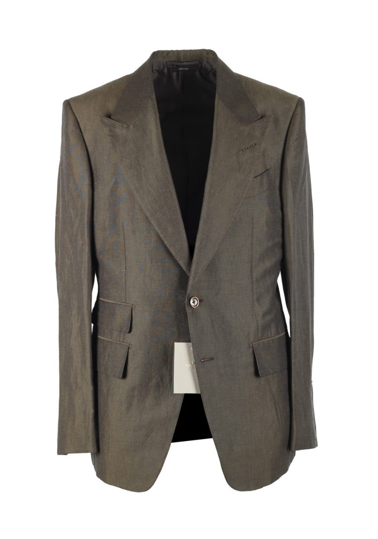 TOM FORD Shelton Green Suit Size 52 / 42R U.S. In Linen Silk - thumbnail | Costume Limité
