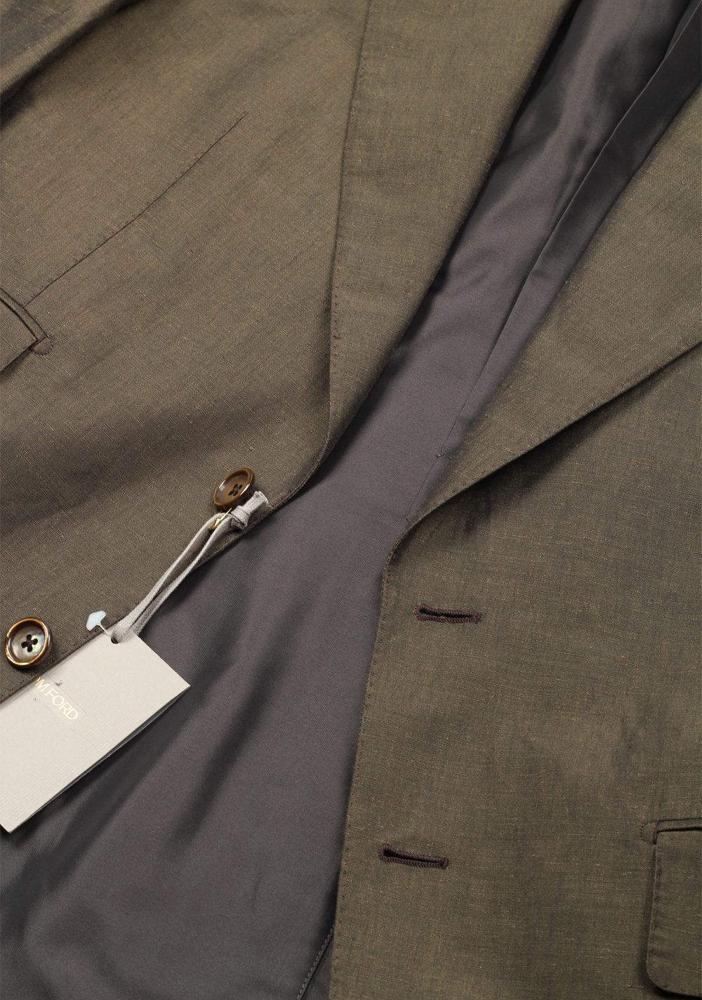 TOM FORD Shelton Green Suit Size 52 / 42R U.S. In Linen Silk | Costume Limité