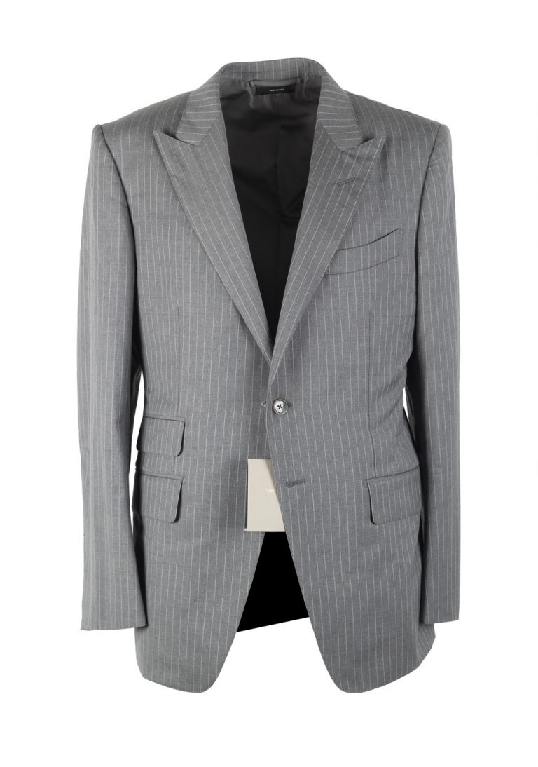 TOM FORD O'Connor Striped Gray Suit Size 50 / 40R U.S. In Wool - thumbnail | Costume Limité