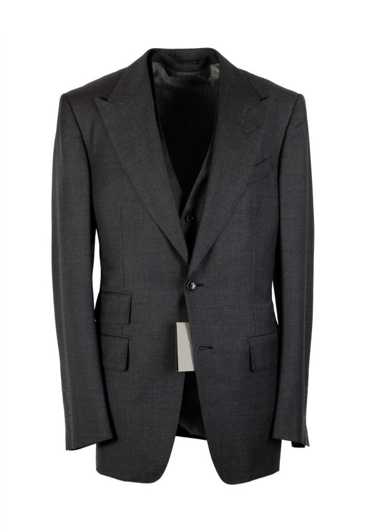TOM FORD Windsor Gray 3 Piece Suit Size 64 / 54R U.S. Wool Fit A - thumbnail | Costume Limité