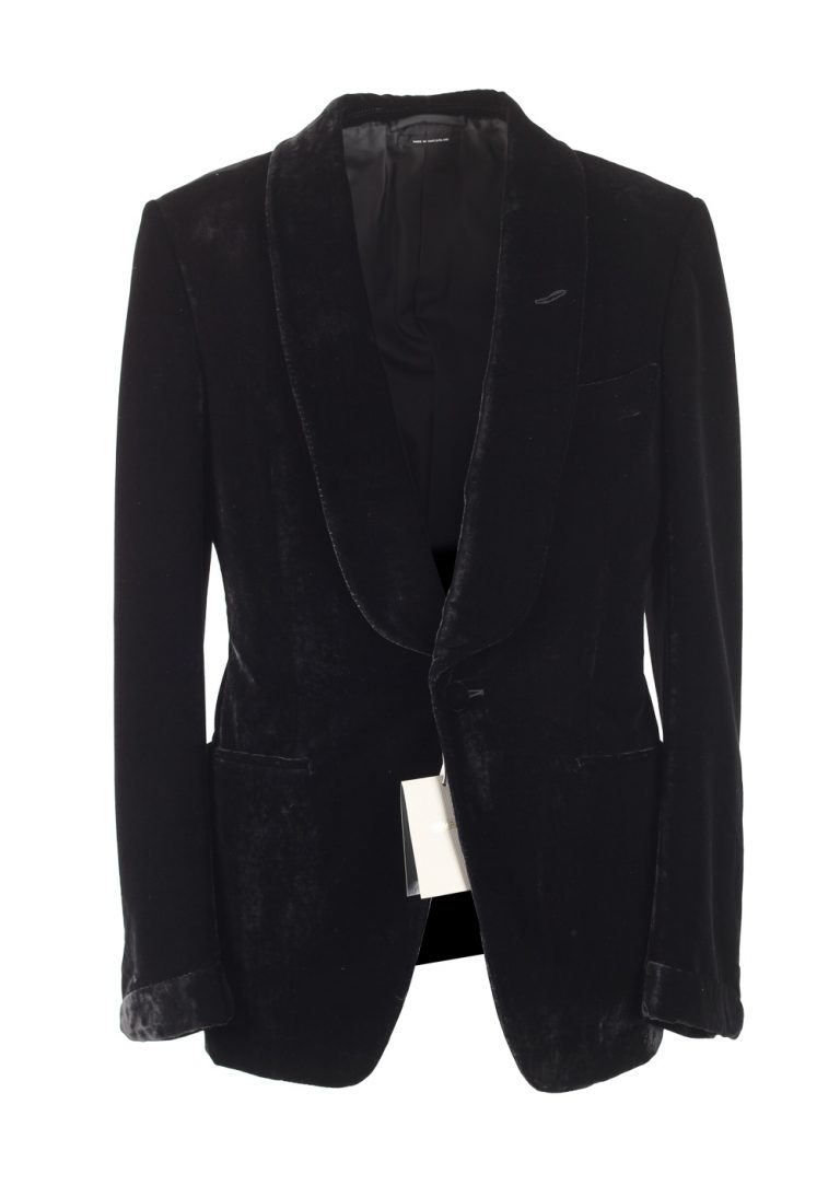 TOM FORD Buckley Black Velvet Sport Coat Tuxedo Dinner Jacket Size 48 / 38R U.S. Base V - thumbnail | Costume Limité