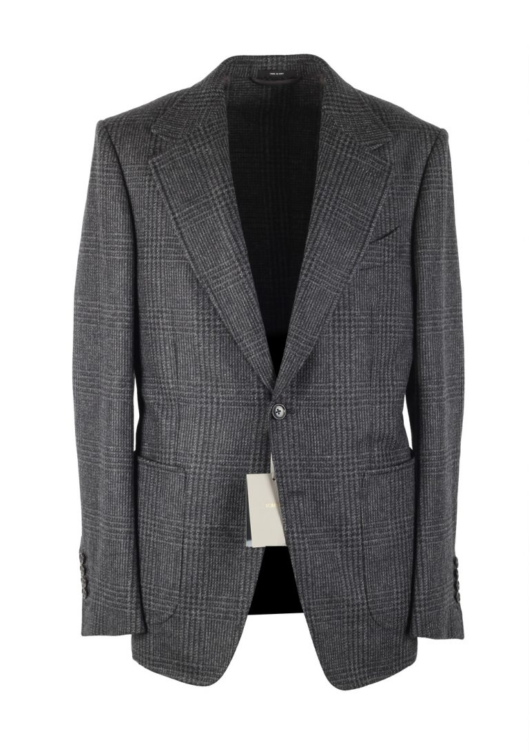 TOM FORD Shelton Checked Gray Sport Coat Size 52 / 42R U.S. In Wool - thumbnail   Costume Limité
