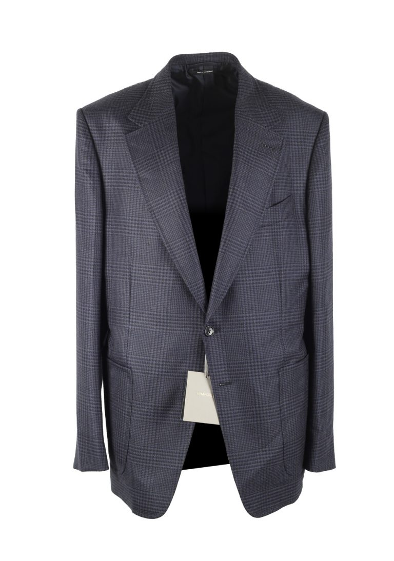TOM FORD Shelton Checked Blue Sport Coat Size 54 / 44R U.S. In Wool Silk - thumbnail | Costume Limité