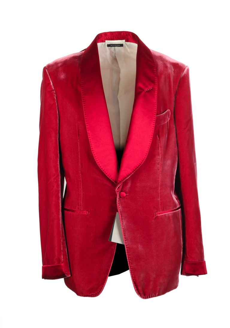 Shelton Shawl Collar Velvet Red Sport Coat Tuxedo Dinner Jacket Size Size 50C / 40S U.S. - thumbnail | Costume Limité