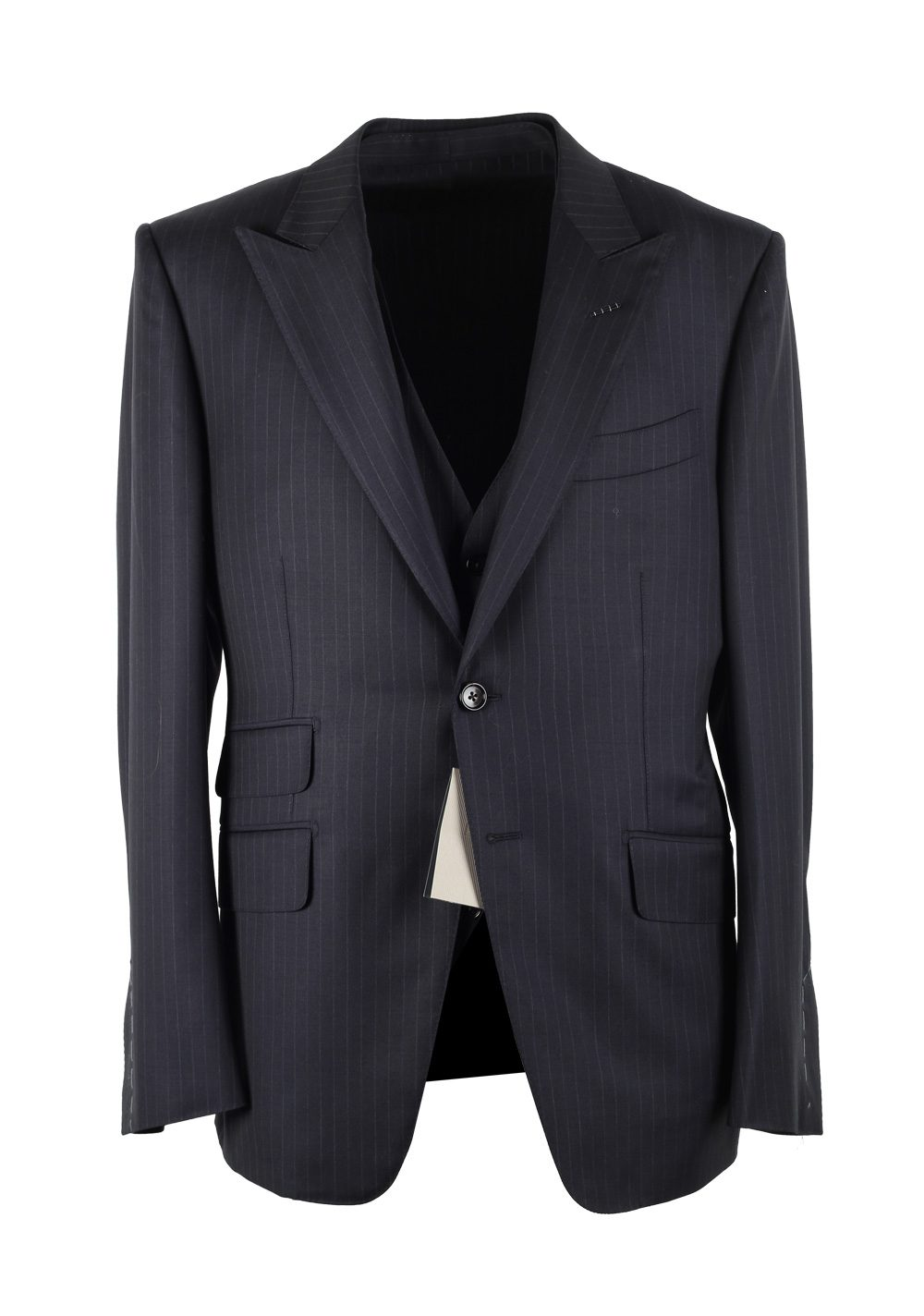 TOM FORD O'Connor Striped Blue 3 Piece Suit Size 50C / 40S U.S. Wool Fit Y | Costume Limité
