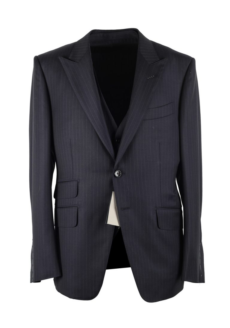TOM FORD O'Connor Striped Blue 3 Piece Suit Size 50C / 40S U.S. Wool Fit Y - thumbnail | Costume Limité