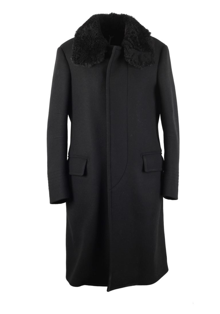 TOM FORD Shearling Trimmed Black Over Coat Size 48 / 38R U.S. Outerwear - thumbnail | Costume Limité