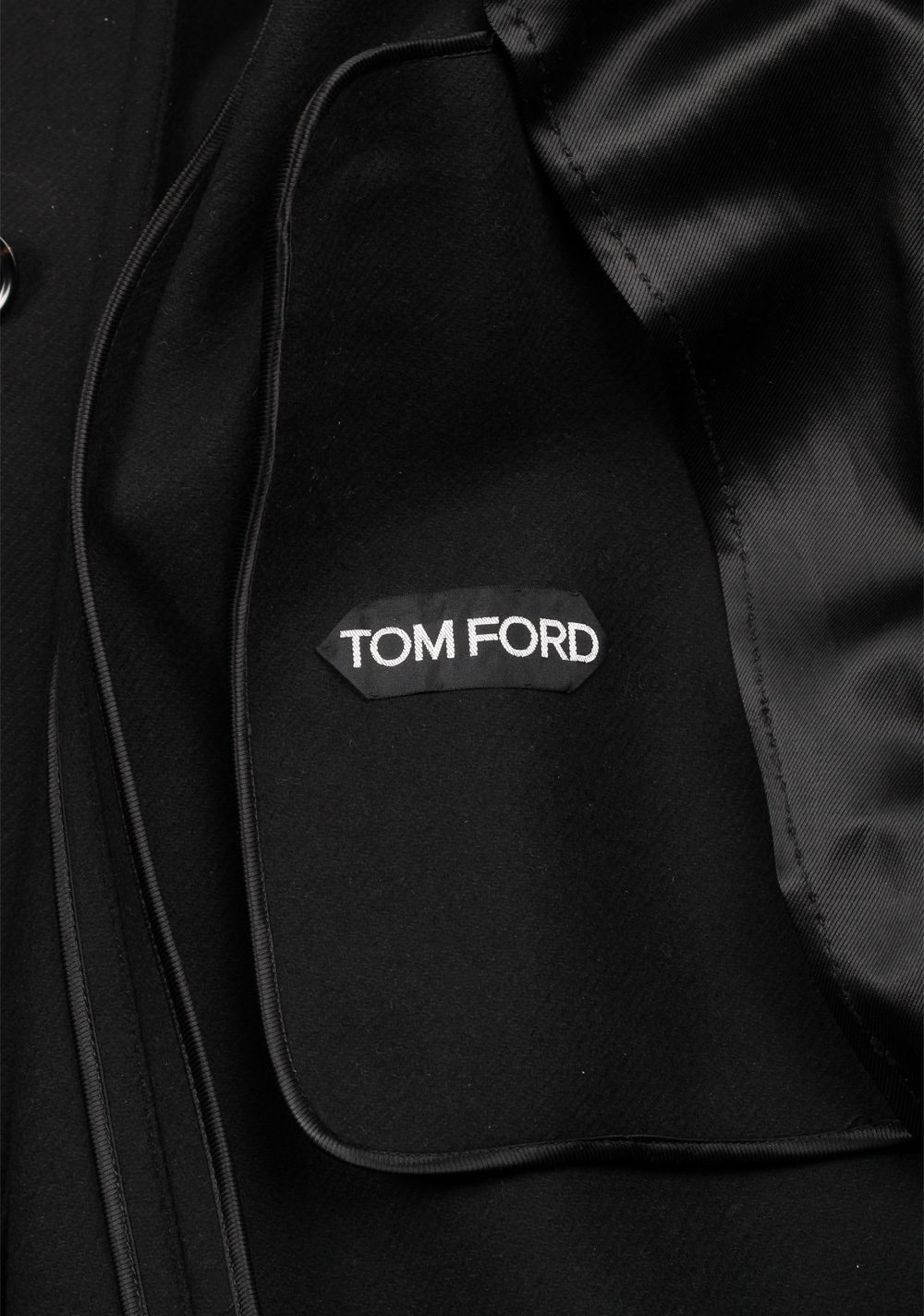 TOM FORD Shearling Trimmed Black Over Coat Size 48 / 38R U.S. Outerwear | Costume Limité