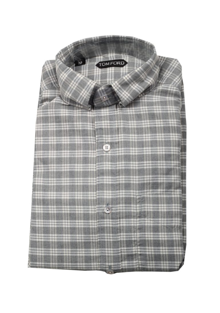 TOM FORD Checked Gray Button Down Casual Shirt Size 38 / 15 U.S. - thumbnail | Costume Limité