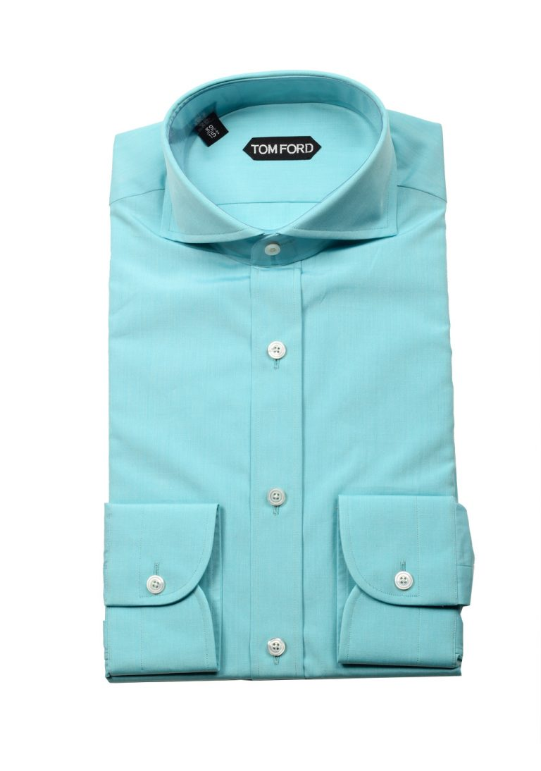 TOM FORD Solid Turquoise Dress Shirt Size 39 / 15,5 U.S. - thumbnail | Costume Limité