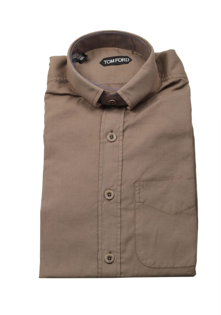 TOM FORD Solid Brown Casual Button Down Shirt Size 39 / 15,5 U.S. - thumbnail | Costume Limité