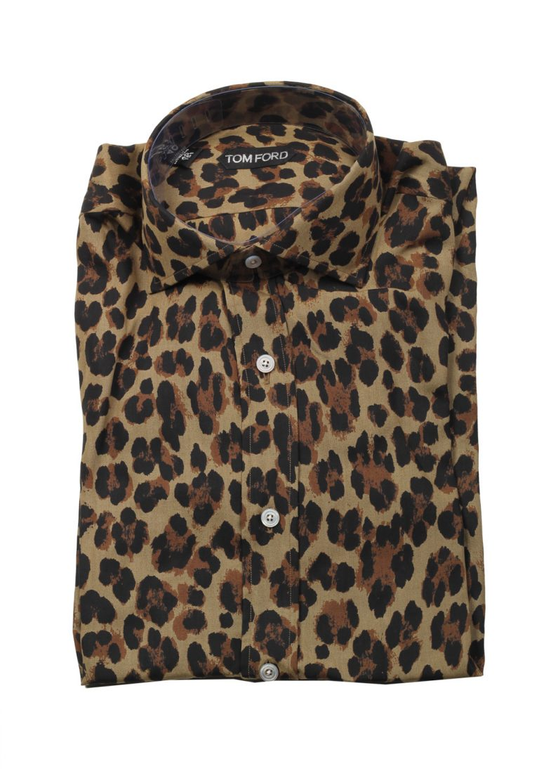 TOM FORD Brown Animal Shirt Size 40 / 15,75 U.S. - thumbnail | Costume Limité