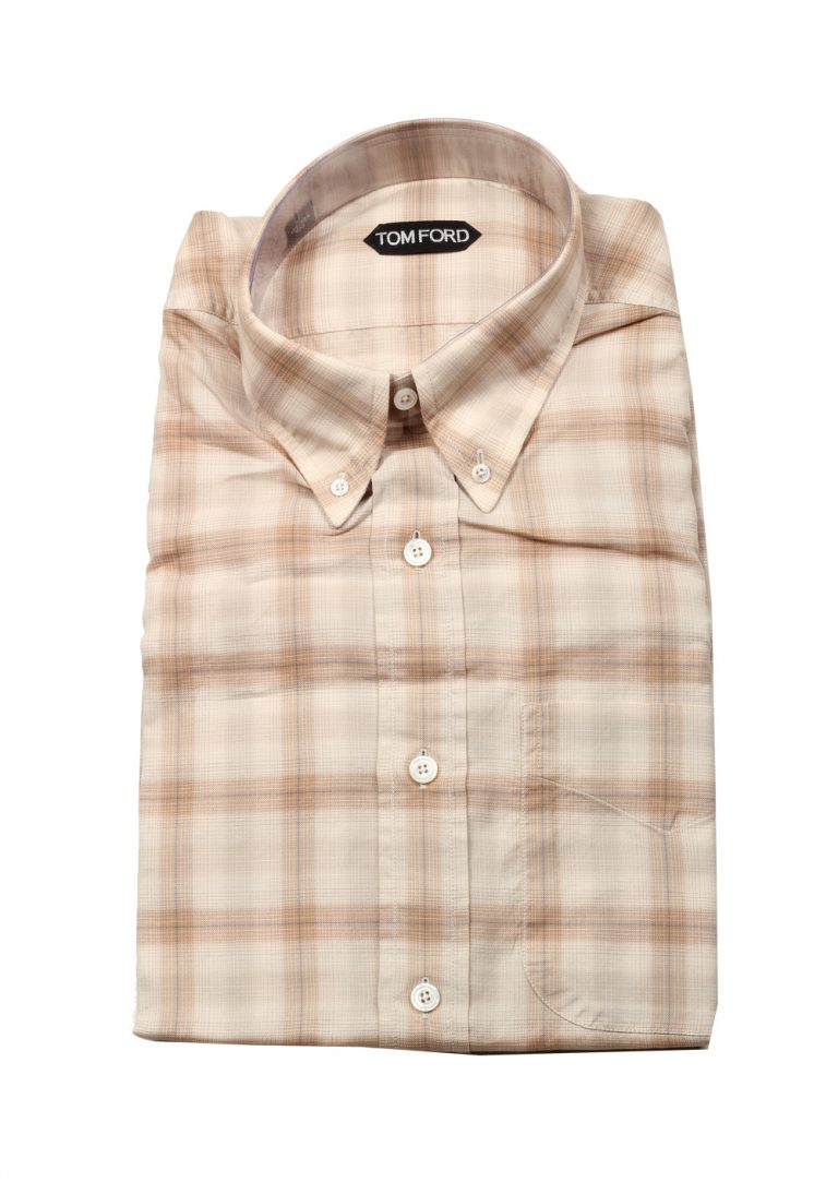 TOM FORD Checked Beige Button Down Shirt Size 40 / 15,75 U.S. - thumbnail | Costume Limité