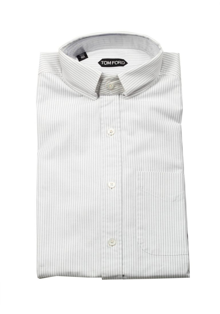 TOM FORD Striped White Gray Button Down Casual Shirt Size 40 / 15,75 U.S. - thumbnail | Costume Limité
