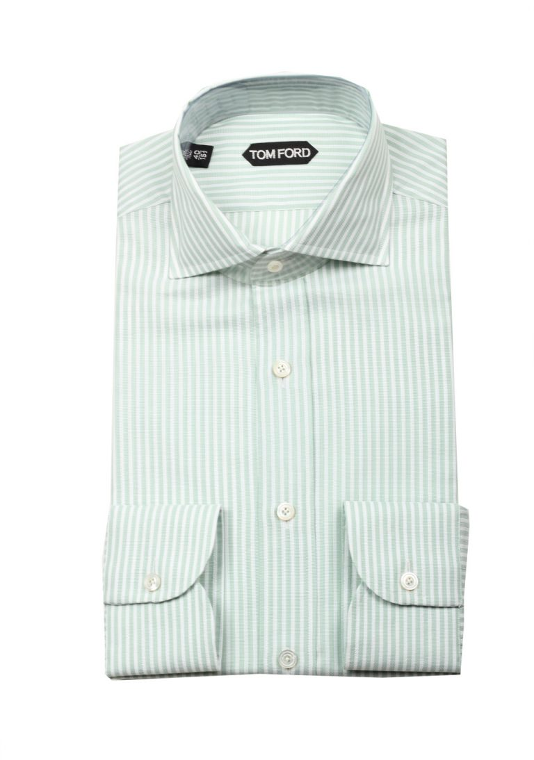 TOM FORD Striped White Green Dress Shirt Size 40 / 15,75 U.S. - thumbnail | Costume Limité