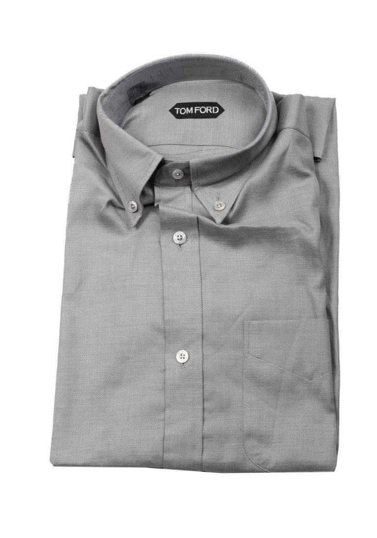 TOM FORD Solid Gray Button Down Casual Shirt Size 40 / 15,75 U.S. - thumbnail | Costume Limité