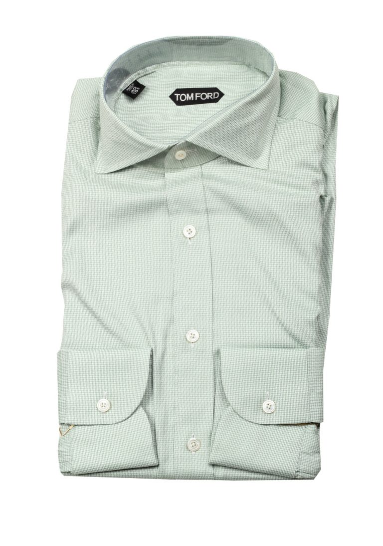 TOM FORD White Green Dress Shirt Size 40 / 15,75 U.S. - thumbnail | Costume Limité